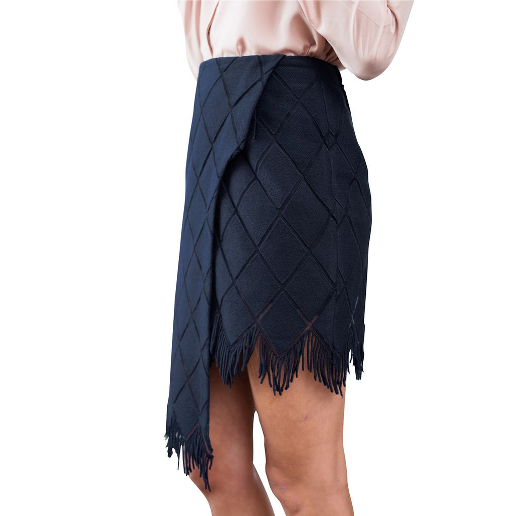 Cotton Embroidery Skirt Fringed Blue Navy Flora - Sunday Life