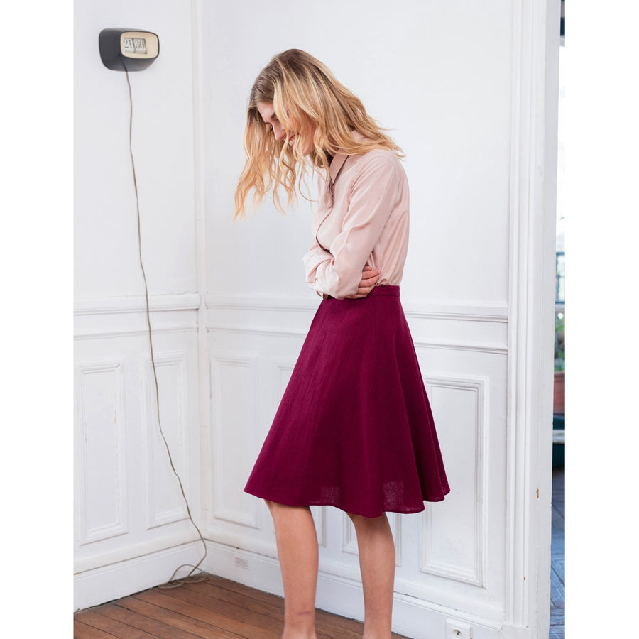 Red Wool Flared Skirt Elise Sunday Life - Sunday Life