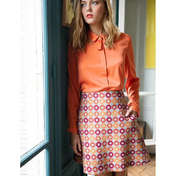 Wool Orange Print Mini-skirt Capucine Sunday Life - Sunday Life