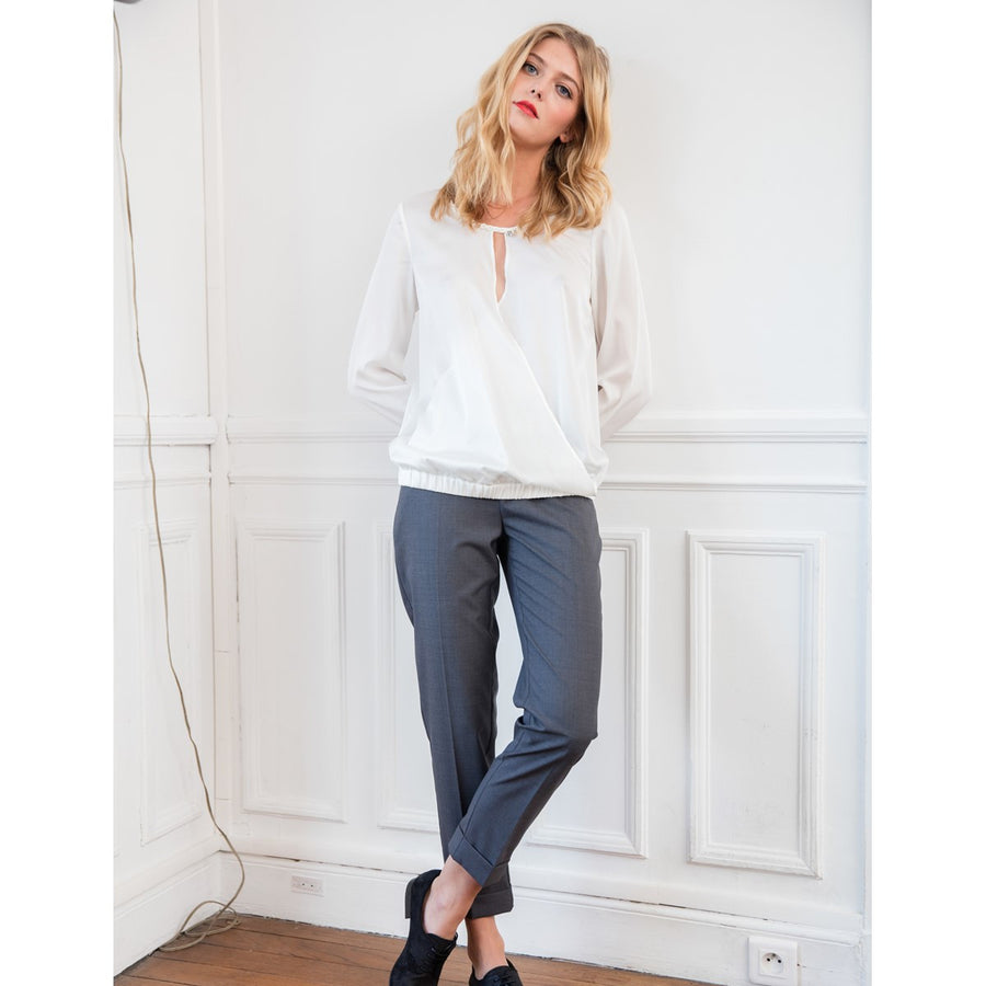 Women Wool Grey Slim Pants Caroline Sunday Life - Sunday Life