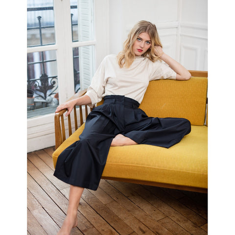 Women High Waist Wool Pleated Navy Pants Solene