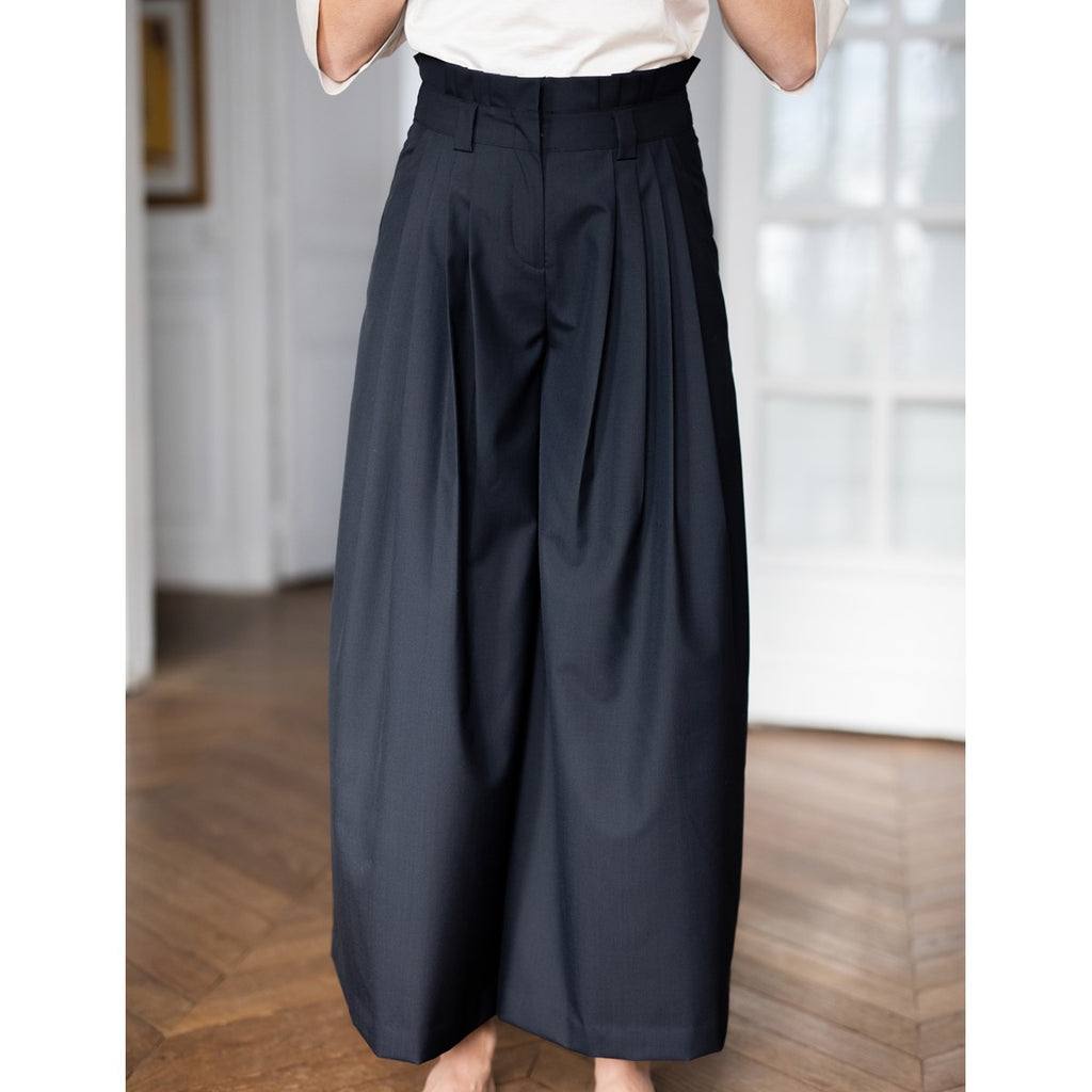 High waist Navy Blue wool pleated pants Solene - Sunday Life