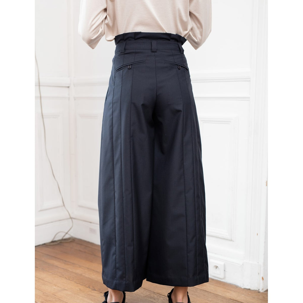 Women High Waist Wool Pleated Navy Pants Solene - Sunday Life