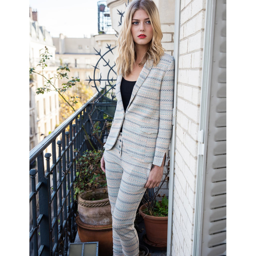 Stripe Cotton jacket Elodie Beige