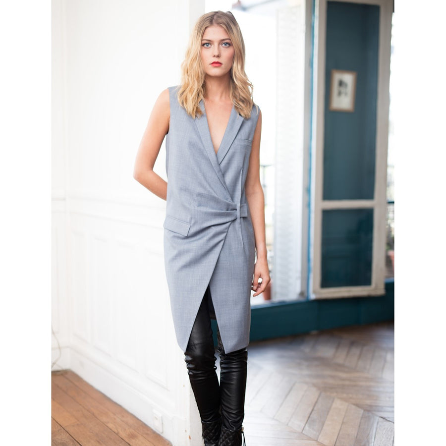 Women Cotton Sleeveless Grey Jacket Axelle Grey - Sunday Life