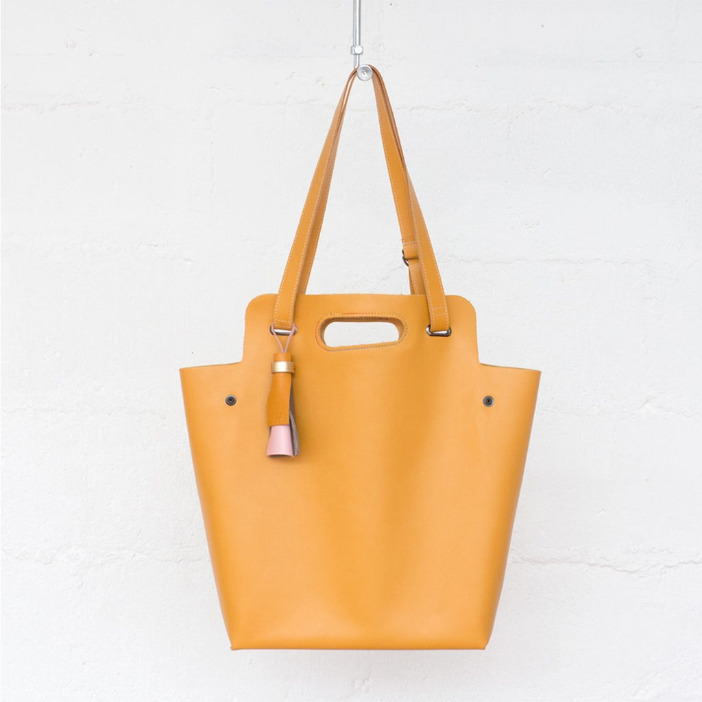 Kaba Tote Yellow Leather Bag Ffil