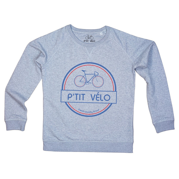 Men Grey Sweatshirt in Organic Cotton P'tit Velo