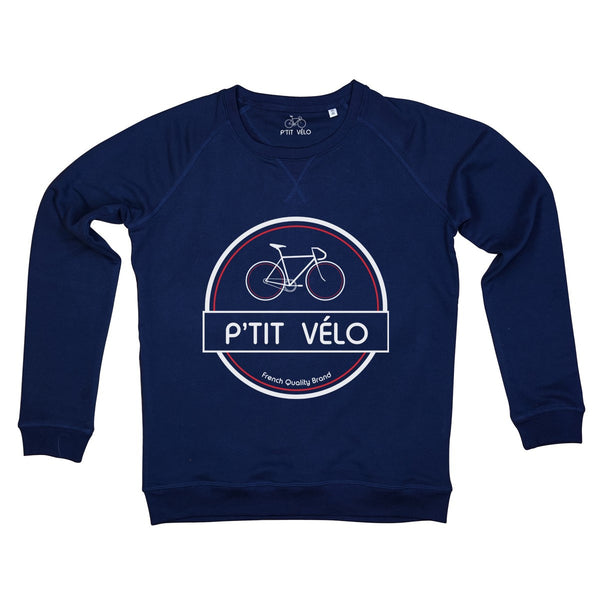 Women Navy Sweatshirt in Organic Cotton P'tit Velo