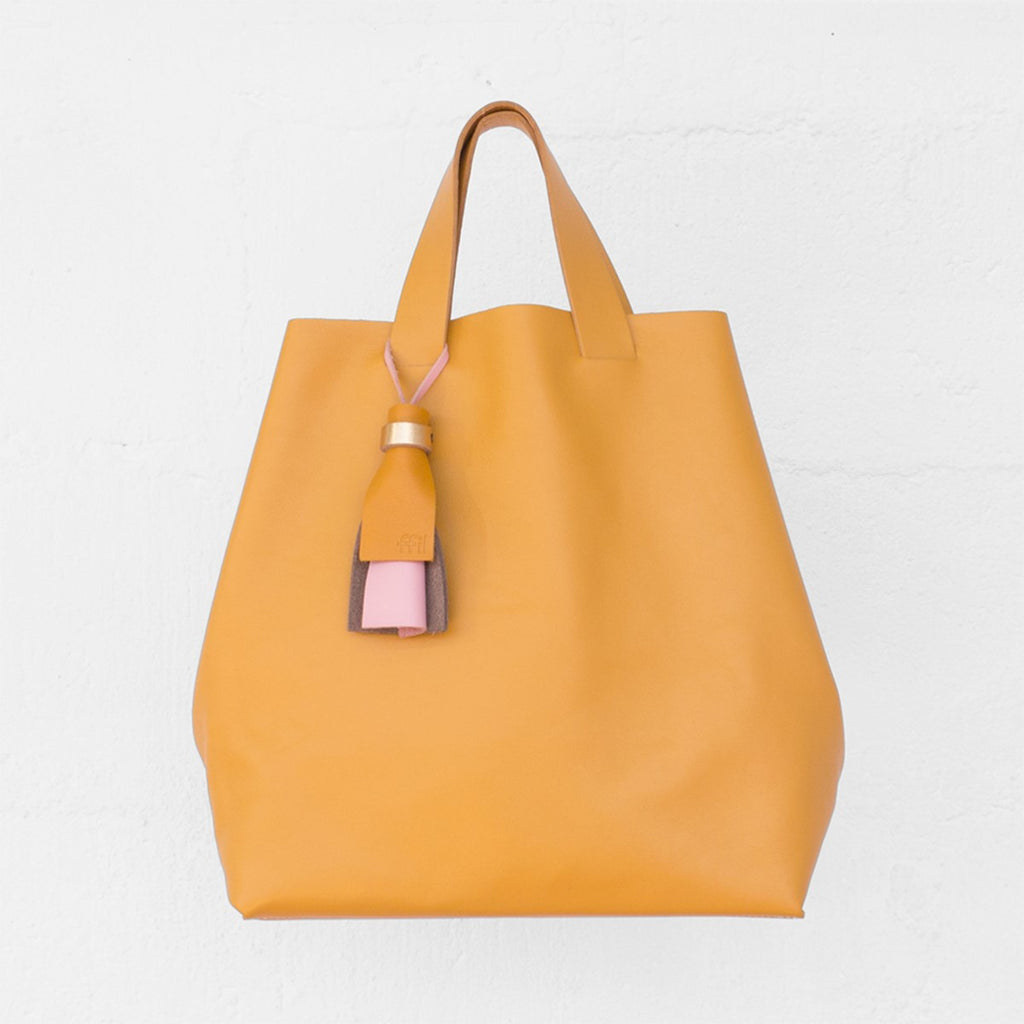 Kaba Leather Tote Bag Yellow with Handles Ffil