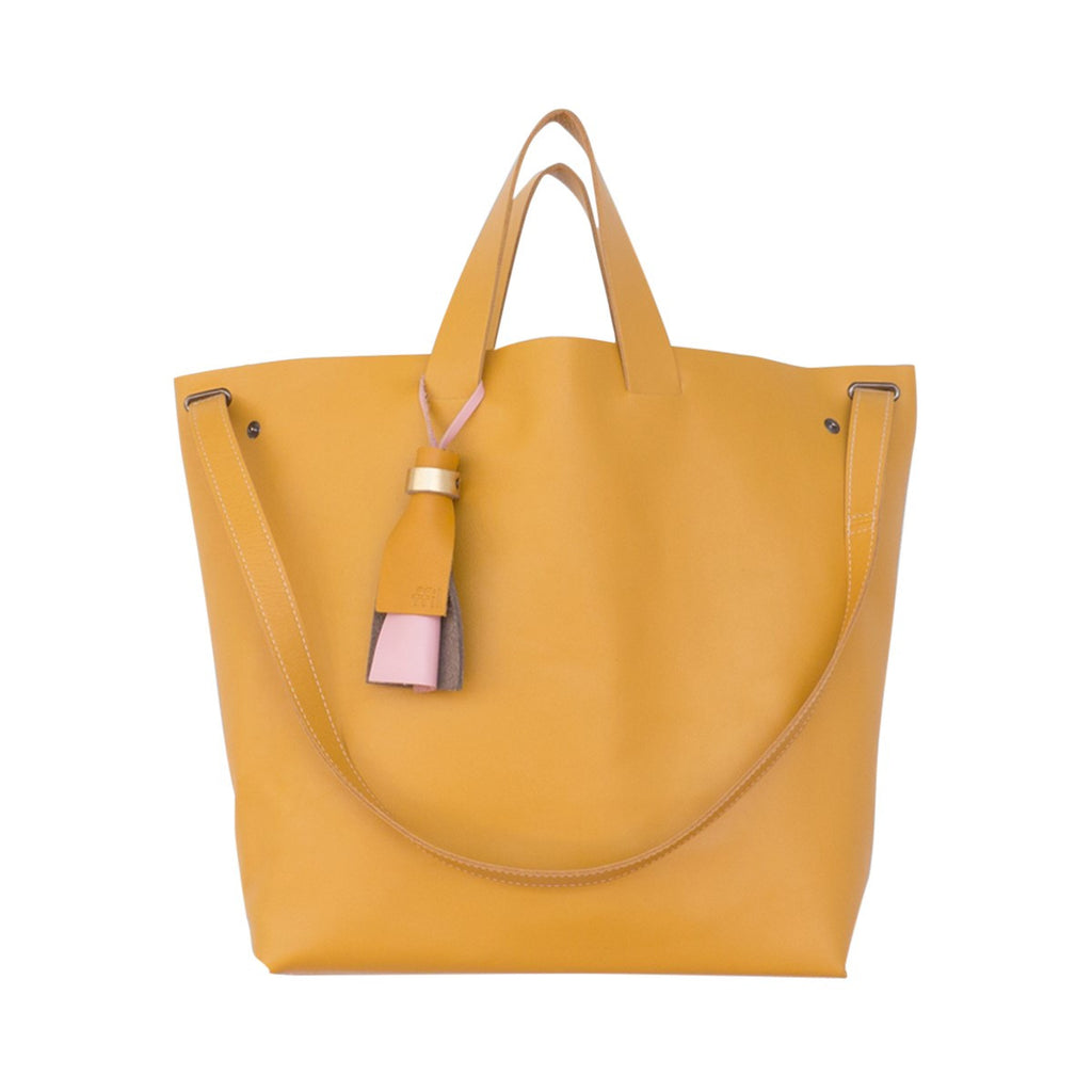 Kaba Leather Bag Yellow with Handles - FFIL