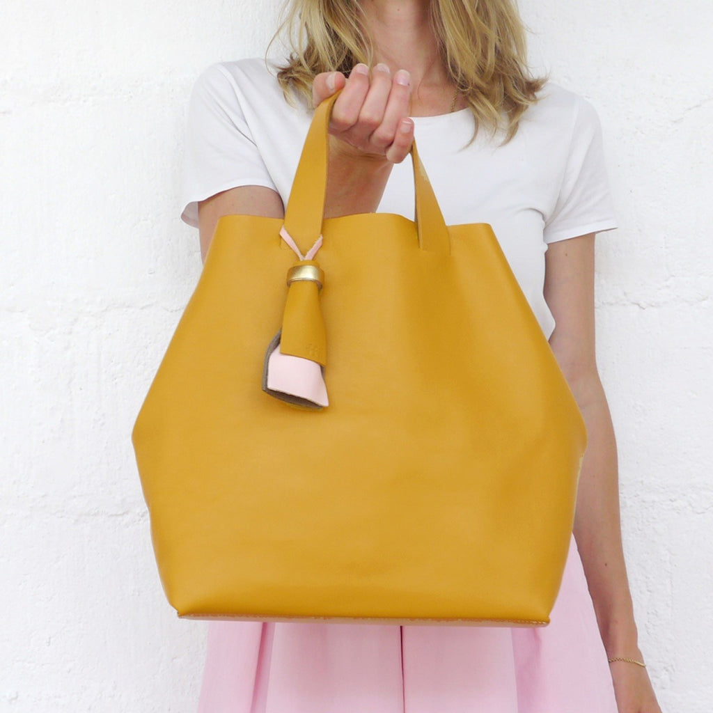 Kaba Leather Tote Bag Yellow with Handles Ffil - FFIL
