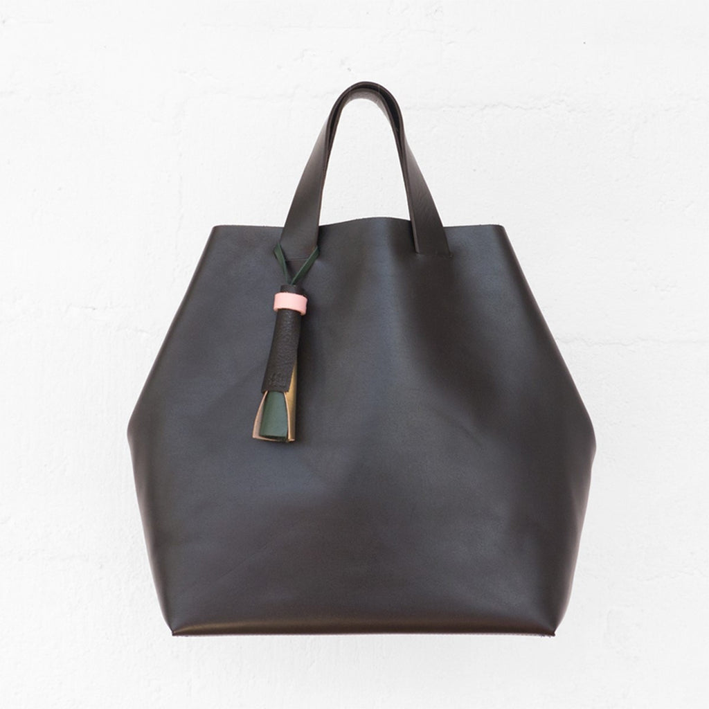 Kaba Leather Tote Black Bag with Handles Ffil - FFIL