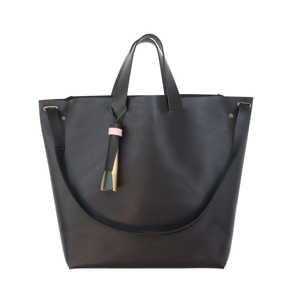 Kaba Leather Bag black with Handles - FFIL