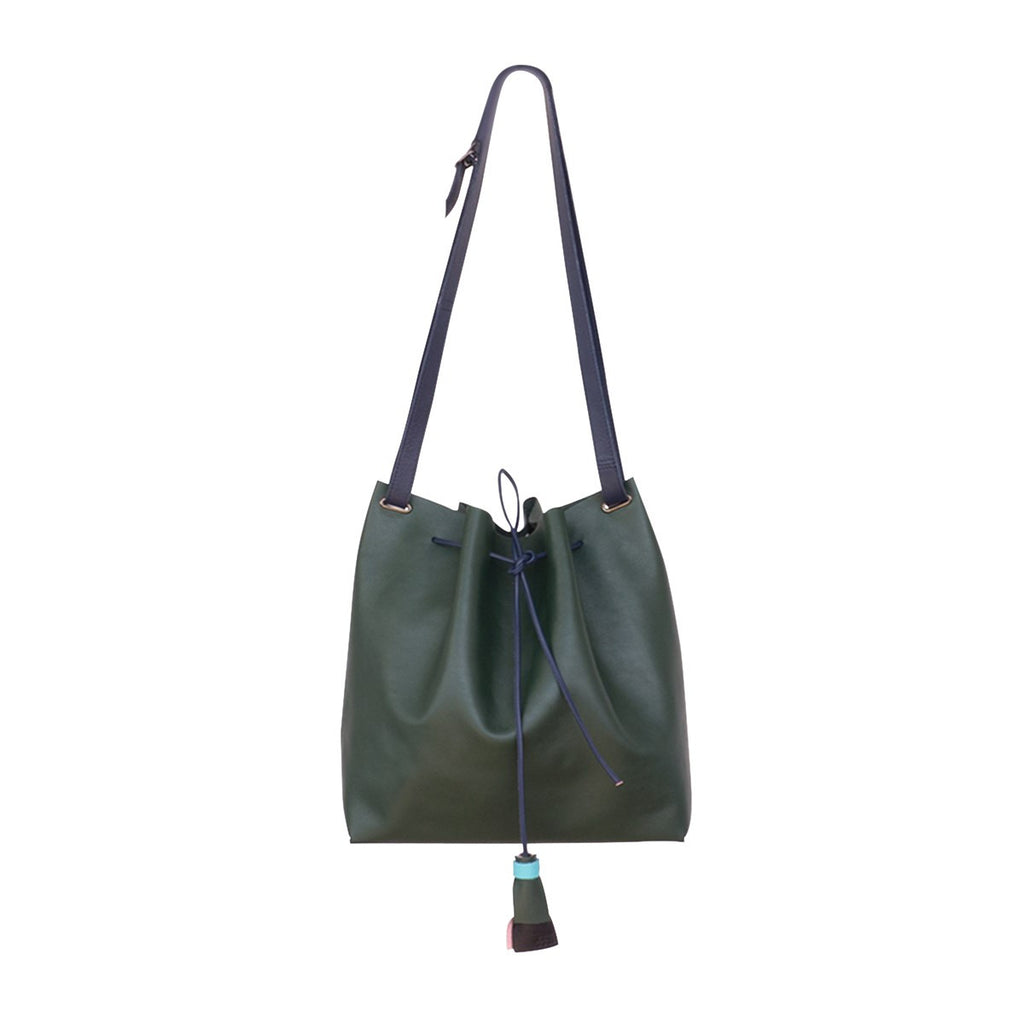 Kaba Leather Bucket Bag Green - FFIL
