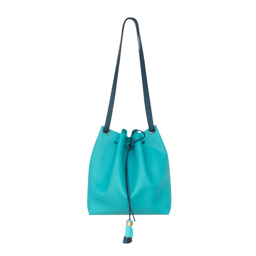 Kaba Turquoise Leather Bucket Bag Ffil - FFIL