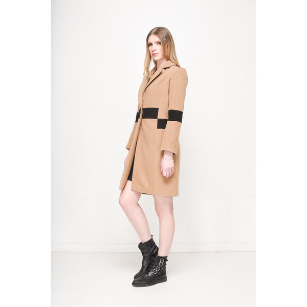 Camel Women Straight Cut Coat EON Paris - EON Paris