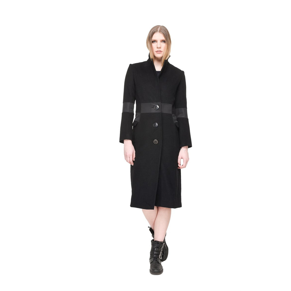 Women Black Long Waisted Coat EON Paris