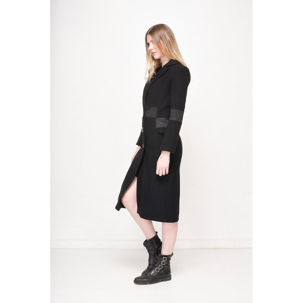 Women Black Long Waisted Coat EON Paris - EON Paris