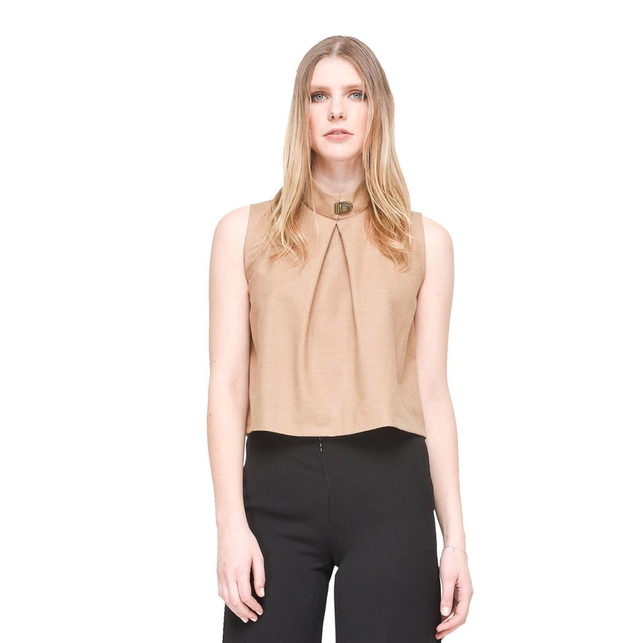 Women Sleeveless Camel Top Stand Collar EON Paris - EON Paris