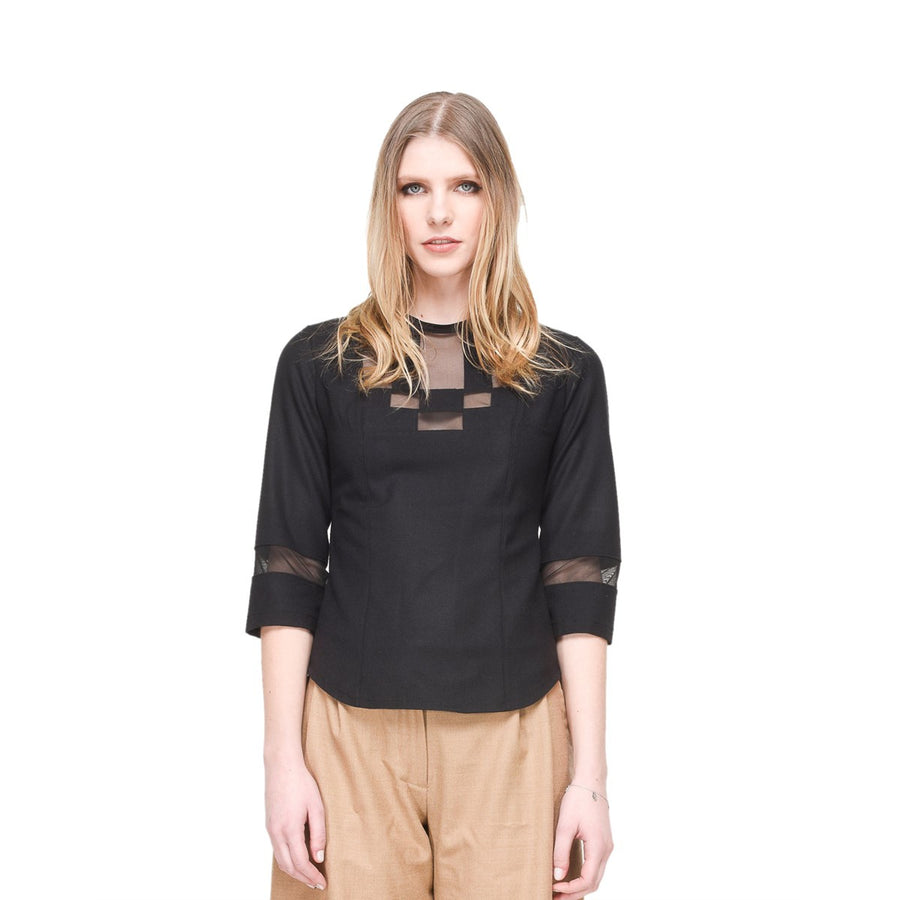 Women Black Shirt With Geometric Inlays EON Paris - EON Paris
