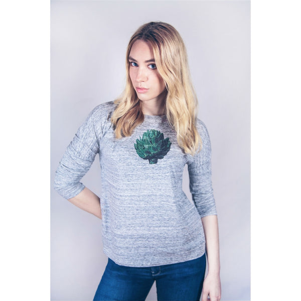 Grey Artichoke t-shirt with long sleeves organic cotton by Ultra Tee - Ultra Tee