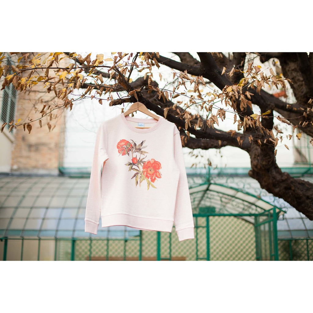 Pivoines sweatshirt with long sleeves in bio cotton by Ultra Tee - Ultra Tee