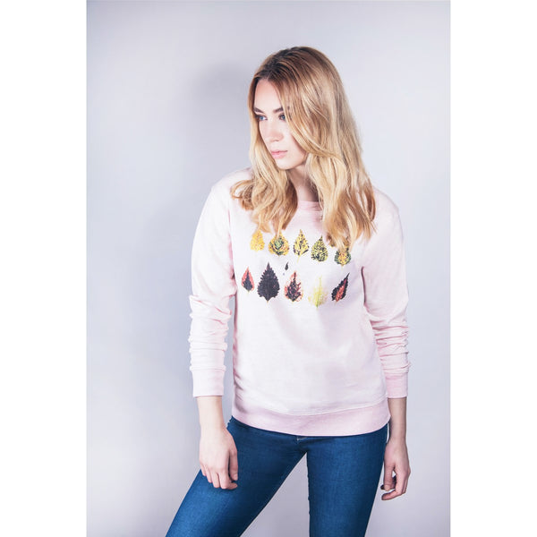 Fall Leaves Sweatshirt pink organic cotton by Ultra Tee - Ultra Tee