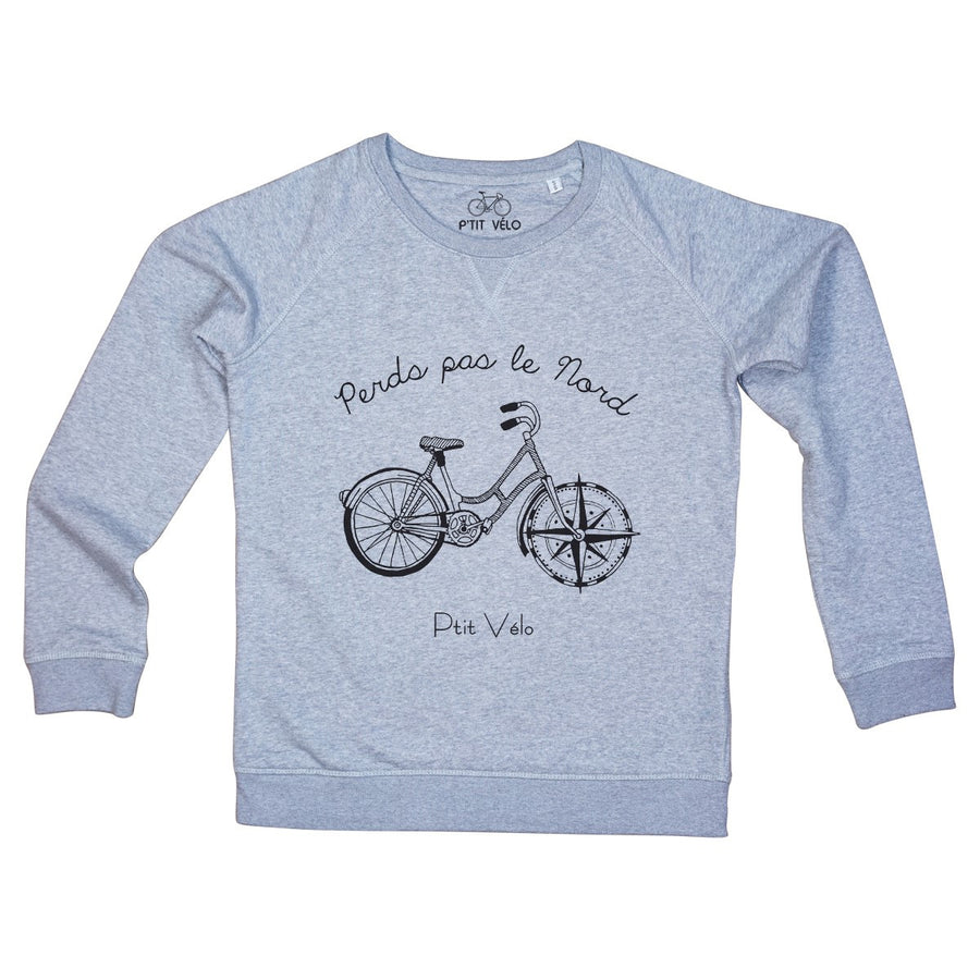 Men Grey Sweatshirt in Organic Cotton Perd Pas Le Nord - Ptit Velo