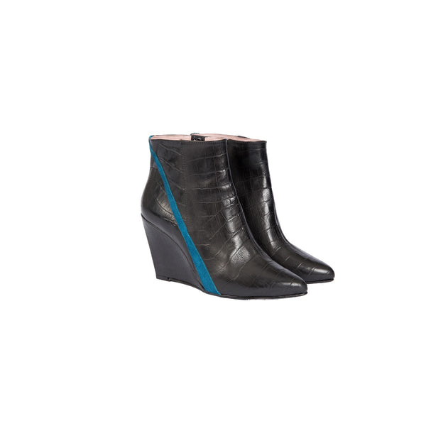 Kamille Black Wedge Boots Croco Coralie Masson