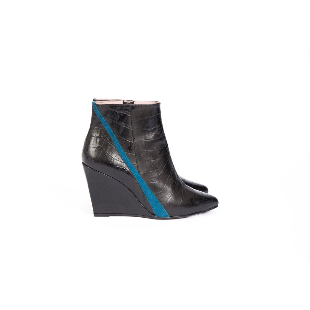Kamille Black Wedge Boots Croco Coralie Masson - Coralie Masson