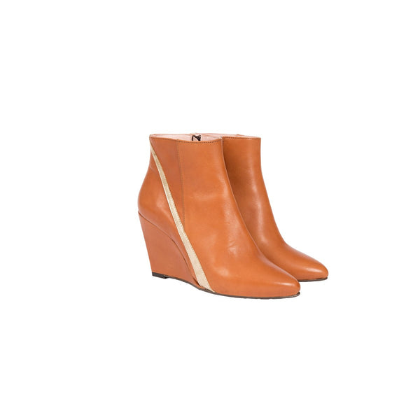 Kamille Camel Wedge Boots Coralie Masson