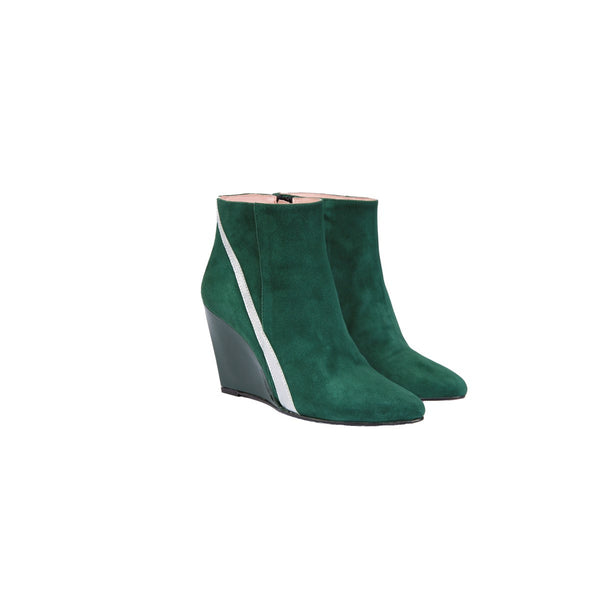 Kamille Green Wedge Boots Coralie Masson