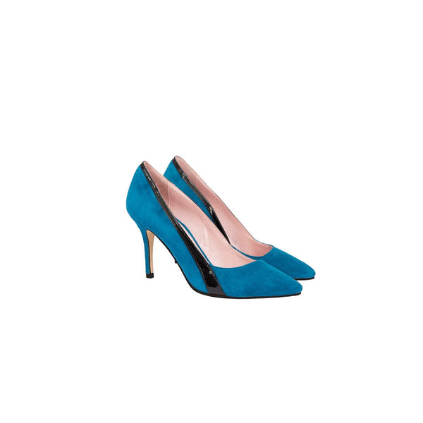 Gigi Turquoise Pumps Black Band Coralie Masson