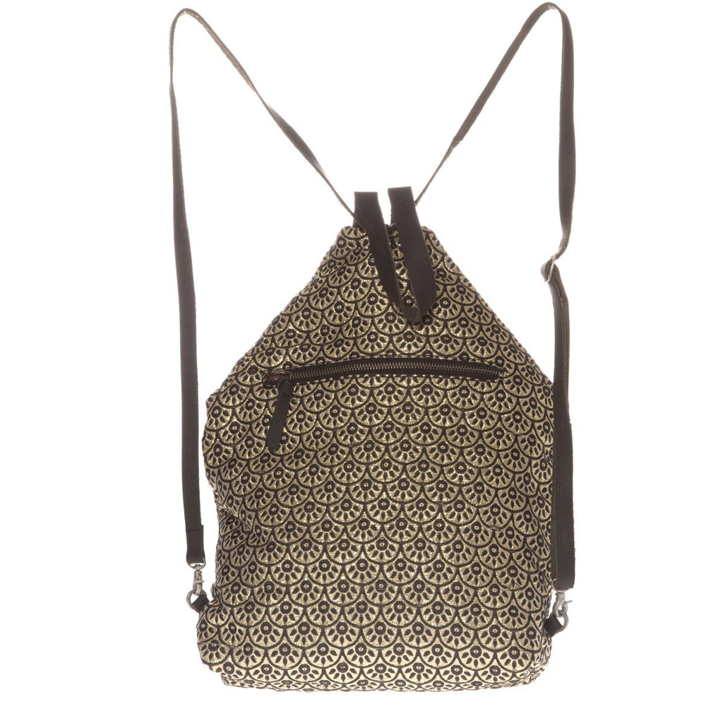 Canvas Backpack Roots Gold  Folklo by Ka - Folklo by Ka