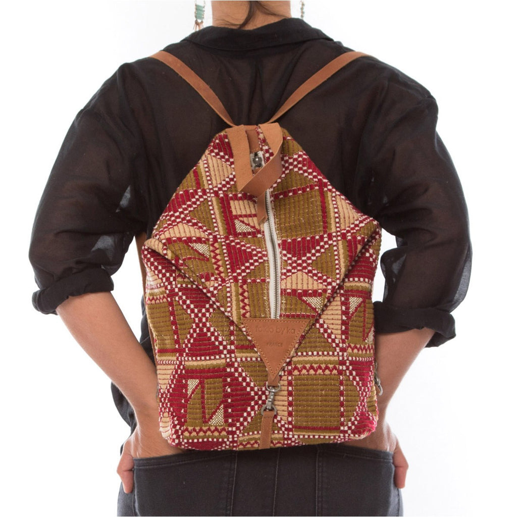 Canvas Backpack Roots Burgundy  Folklo by Ka - Folklo by Ka
