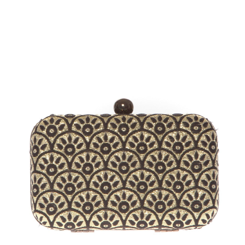 Cotton Clutch Steel Gold with metalic structure Folklo by Ka - Folklo by Ka