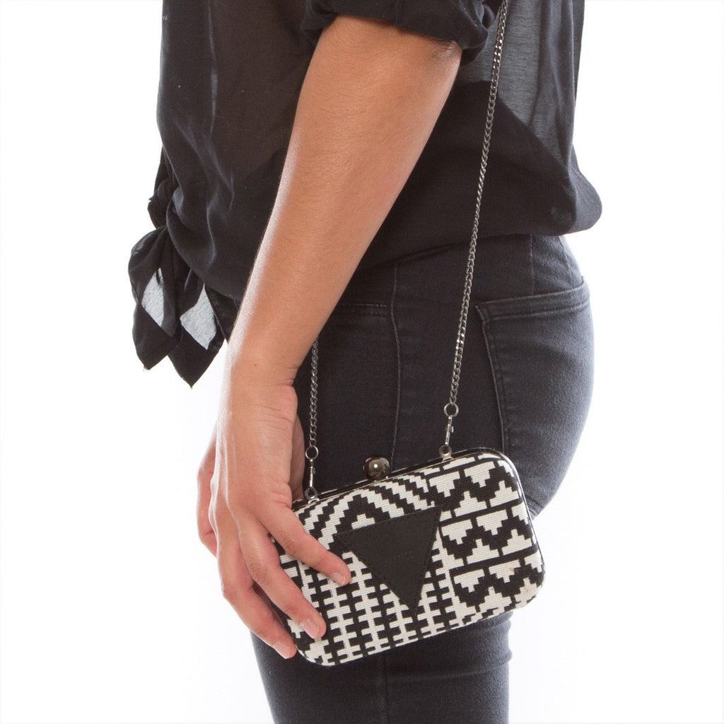Cotton Clutch Steel  Black & White metalic structure Folklo by Ka - Folklo by Ka