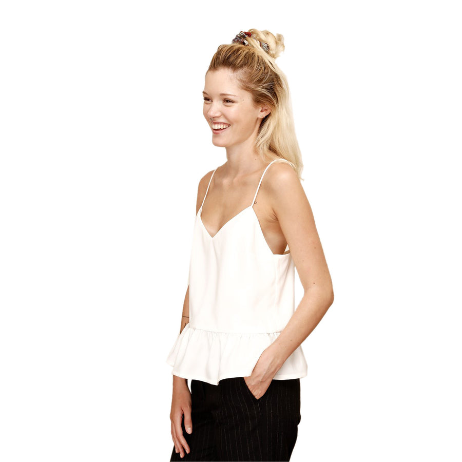 Flywheel Ruffled White Top - LAURA LAVAL PARIS