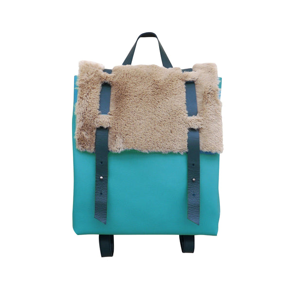 Turquoise Leather Backpack Fur Cover Ffil