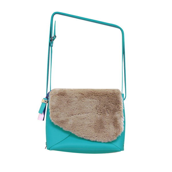 Turquoise Envelope Bag Medium Fur Cover Ffil