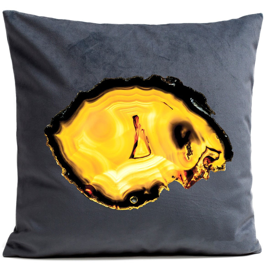 Artpilo Cushion Cover Grey Velvet - Yellow Agate - Artpilo