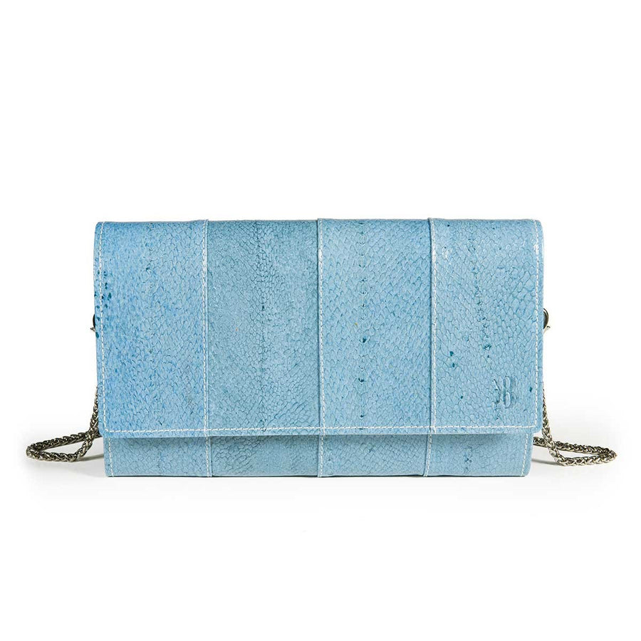 Elegant Sky Blue Trout Leather Pouch Banka