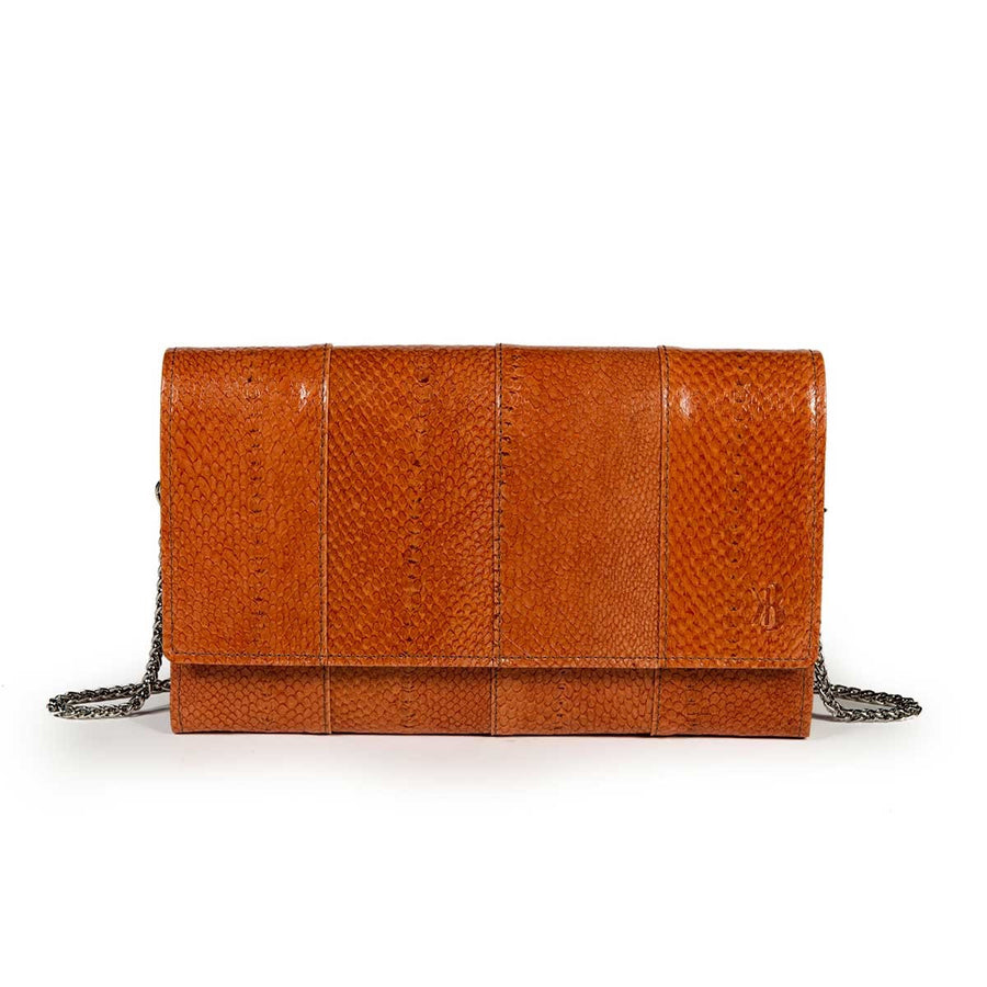 Elegant Caramel Trout Leather Pouch Banka
