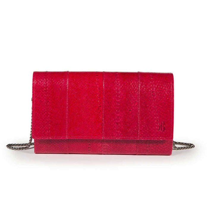 Elegant Fuschia Trout Leather Pouch Banka