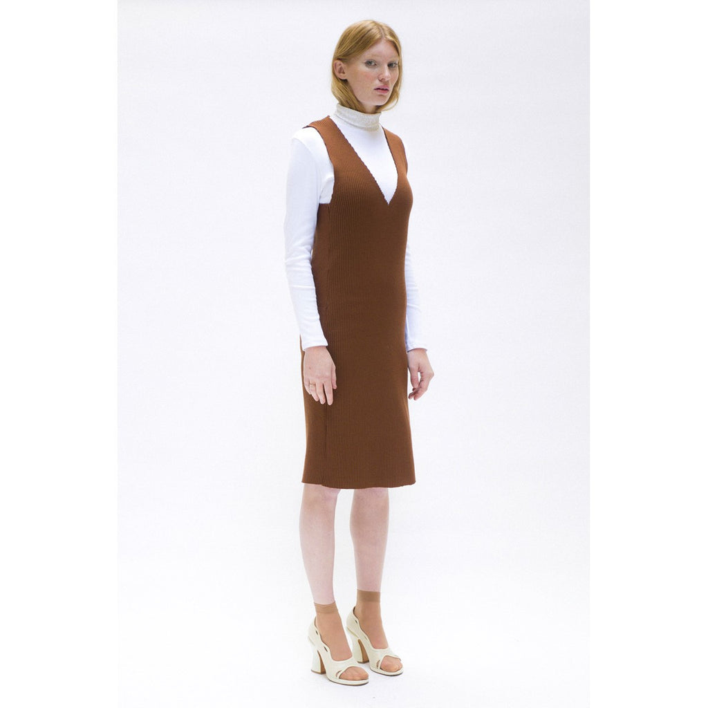 Sleeveless Dress in Brown Knit The Woods Made In Paris