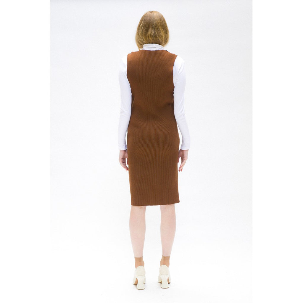 Sleeveless Dress in Brown Knit The Woods Made In Paris - THE WOODS