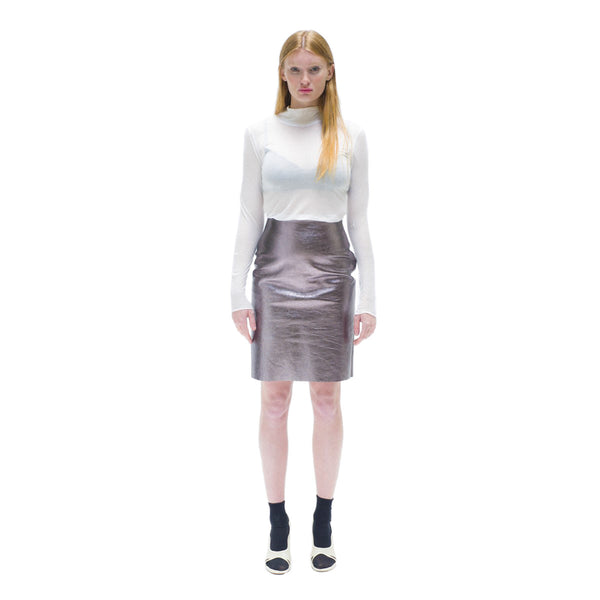 Straight light pink leather skirt The Woods Made In Paris
