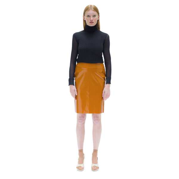 Light brown vinyl straight skirt The Woods Made In Paris