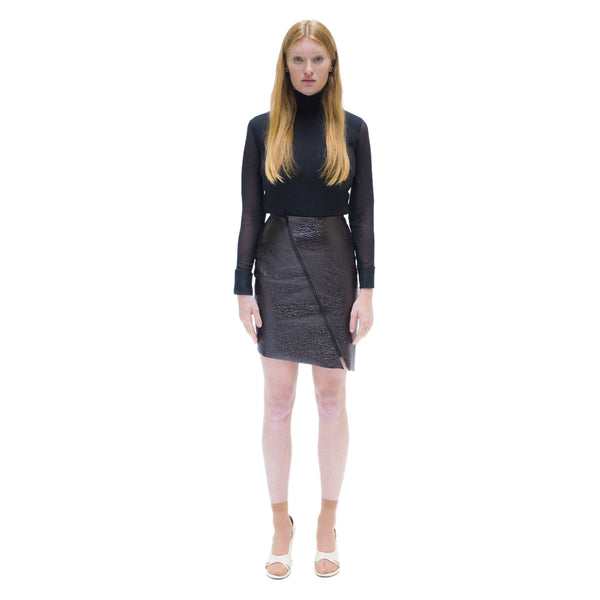 Dark brown asymmetrical textured vynil skirt