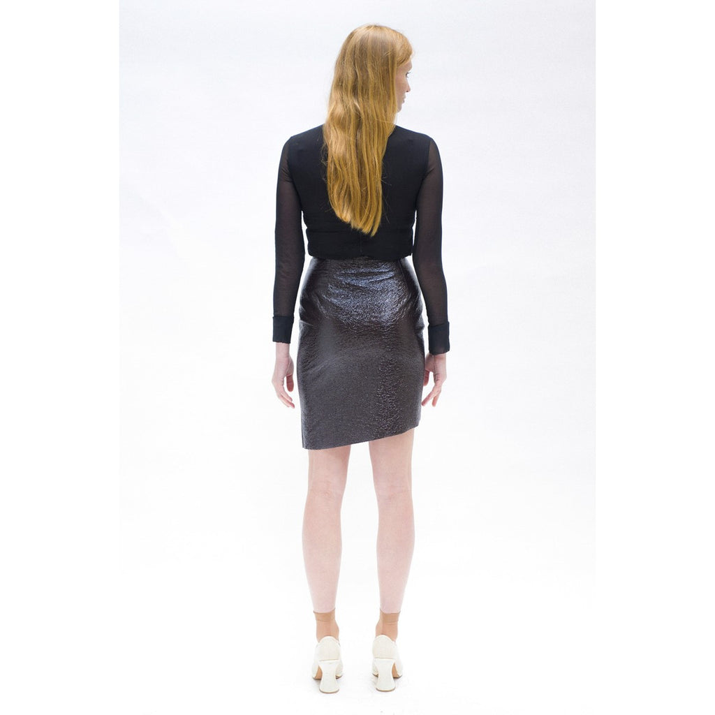 Brown Asymmetric Skirt in Textured Vinyl - THE WOOD